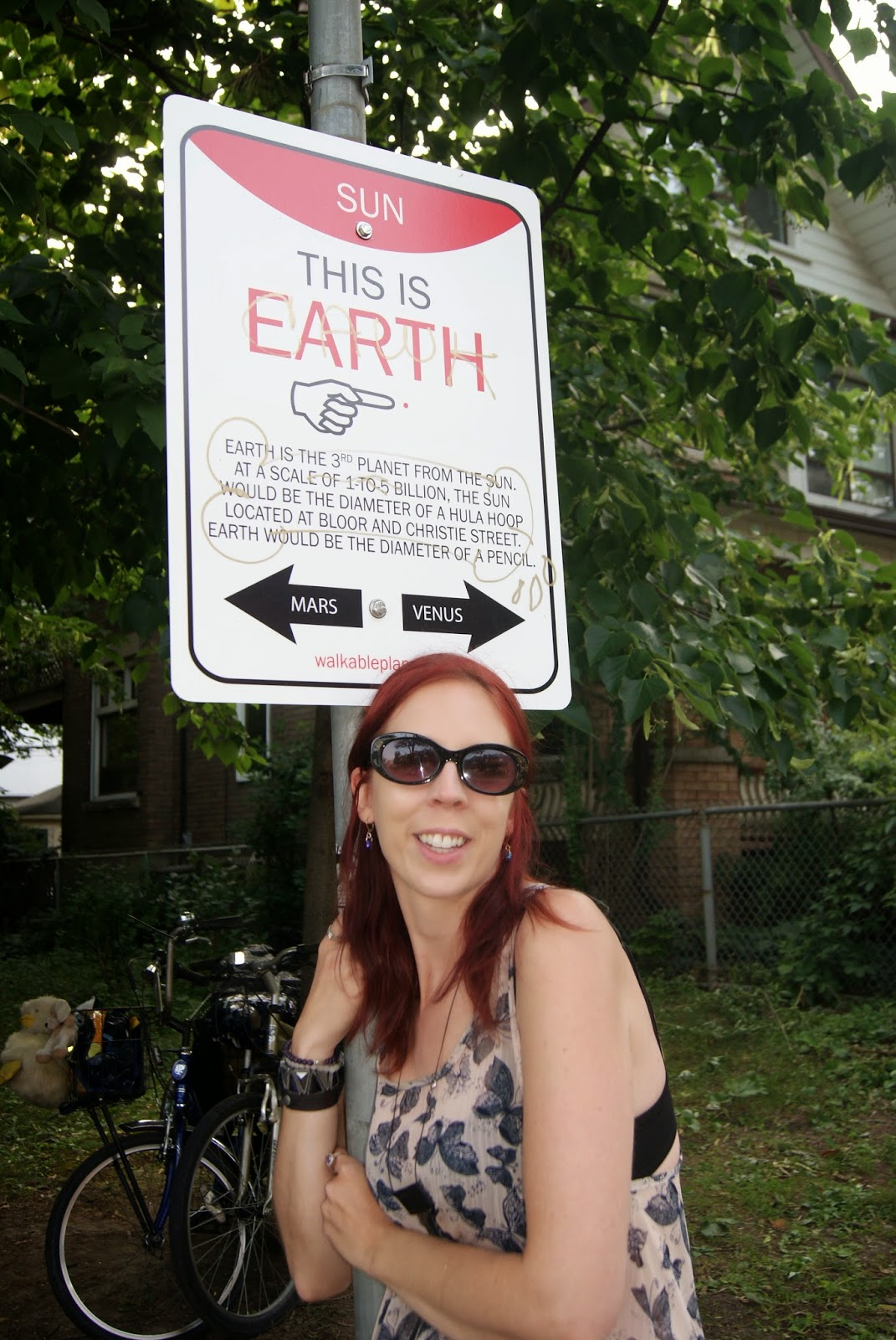 Earth Wayfinding Sign from Walkable Planets scale solar system by Jode Roberts in Toronto, Public, Installation, Community, Project, Intervention, Explore, Grace Street, Gore Vale Avenue, Jane's Walk, 100-in1 Day, Ontario, Canada, Culture, Lifestyle, Galaxy, Art, Artist