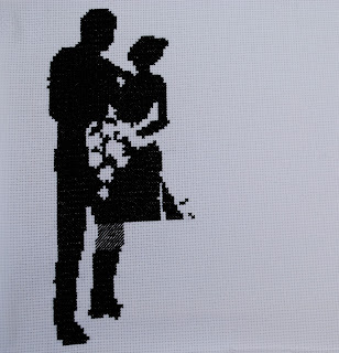 Wedding Silhouette Sampler Cross Stitch WIP Work in Progress