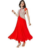 Buy Fashion Store Red Faux Georgette Unstitched Dress Material at Rs.430 : Buytoearn