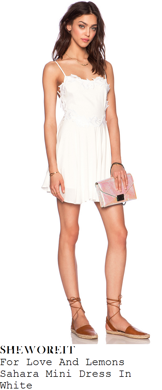 vanessa-hudgens-white-applique-sleeveless-mini-dress