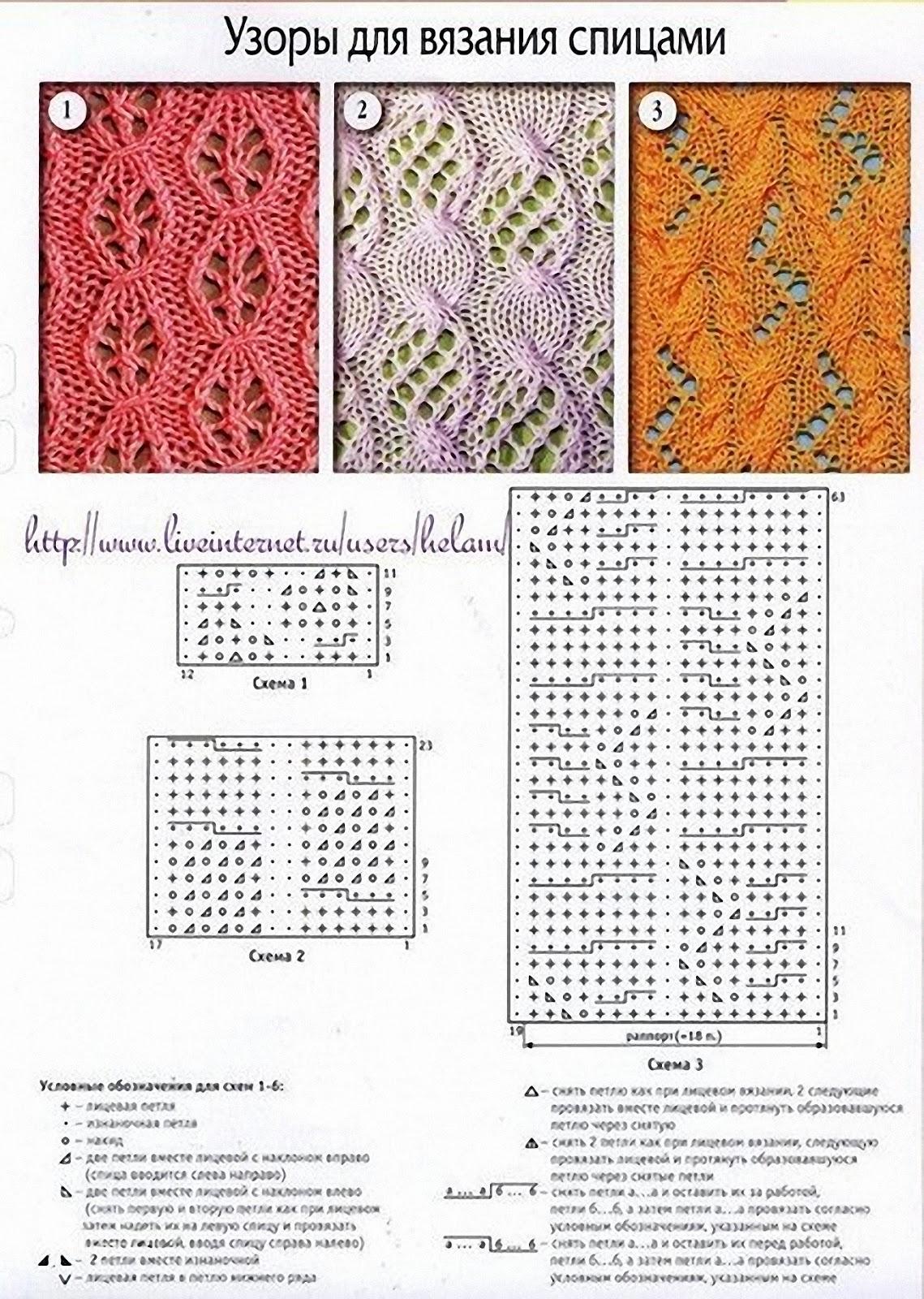 Узоры вязания спицами схема и фото
