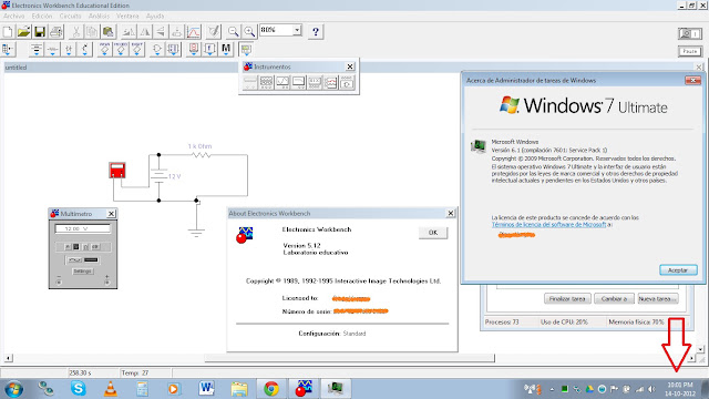Electronics Workbench 5.12 funciona en todas las versiones de Windows 7, Window Vista, Windows XP e incluso en Windows 8