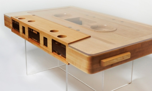 Wooden cassette tape table right corner bottom view