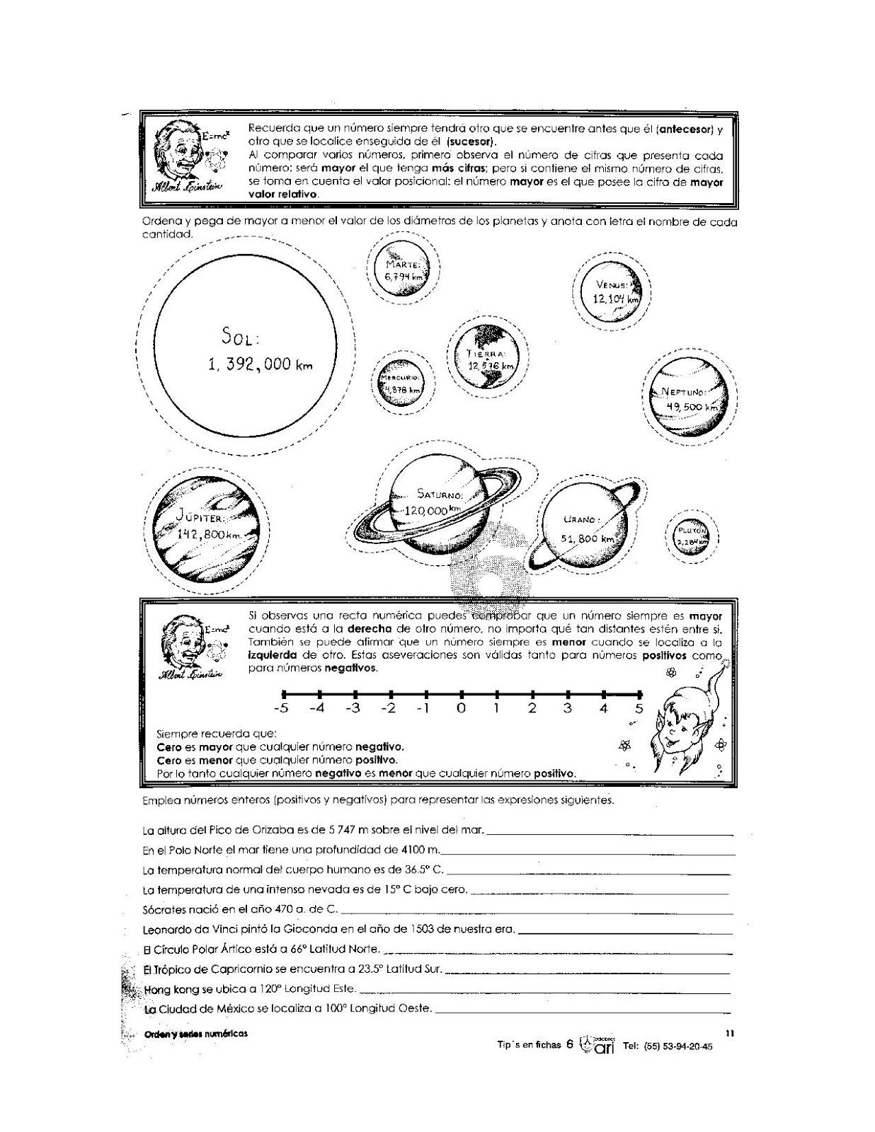 Ejercicios del sistema solar para niños