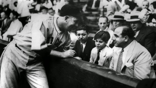 Al Capone, baseball game, Sonny Capone, Albert Capone, Gaby Hartnett, Famous Mafia Pictures, Iconic Mafia Pictures, Mobsters, Chicago Outfit, Cosa Nostra,