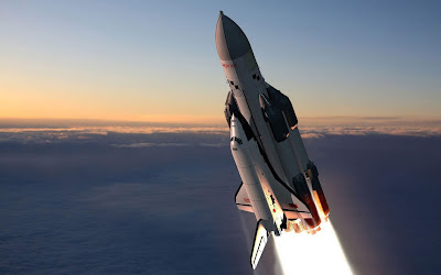 Space rocket in the sky wallpaper