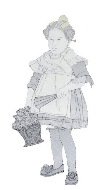 niña, traje valenciana, años 20, dibujo