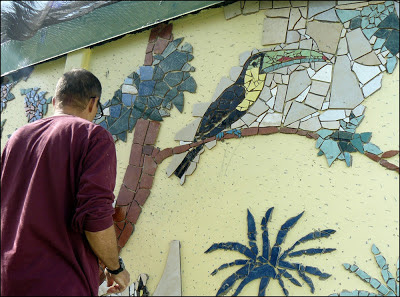 detail of mosaic toucan