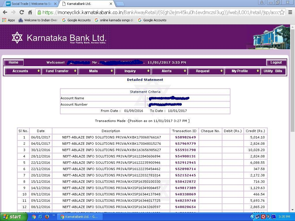 Payment directly credited in Bank Proof 1