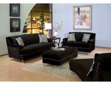 Muebles de sala de color negro black living room for Colores de muebles de sala