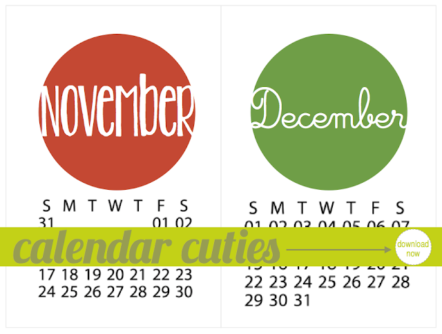 Calendar Cutie Download for November and December | iloveitallwithmonikawright.com #calendar #download #free #printable #Project Life
