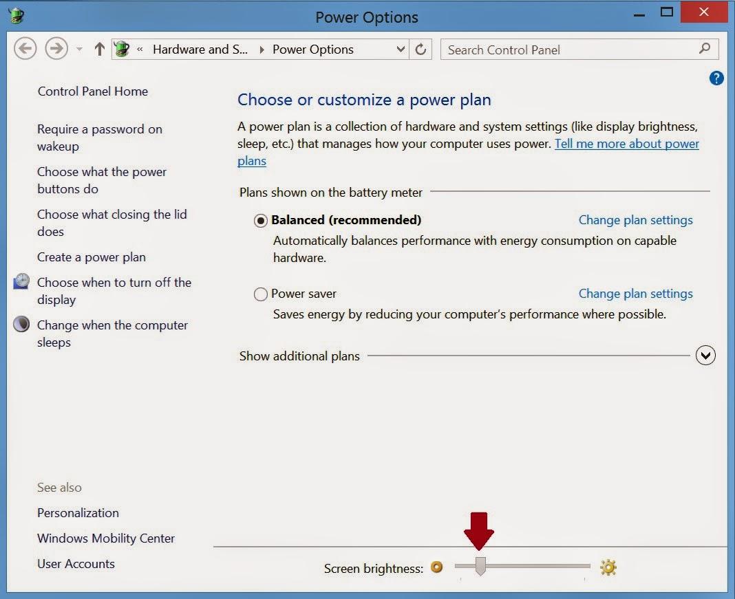 how to fix screen brightness on windows 8.1