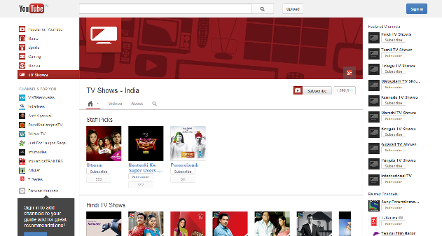 TV SHOWS NOW ON YOUTUBY INDIA TOO