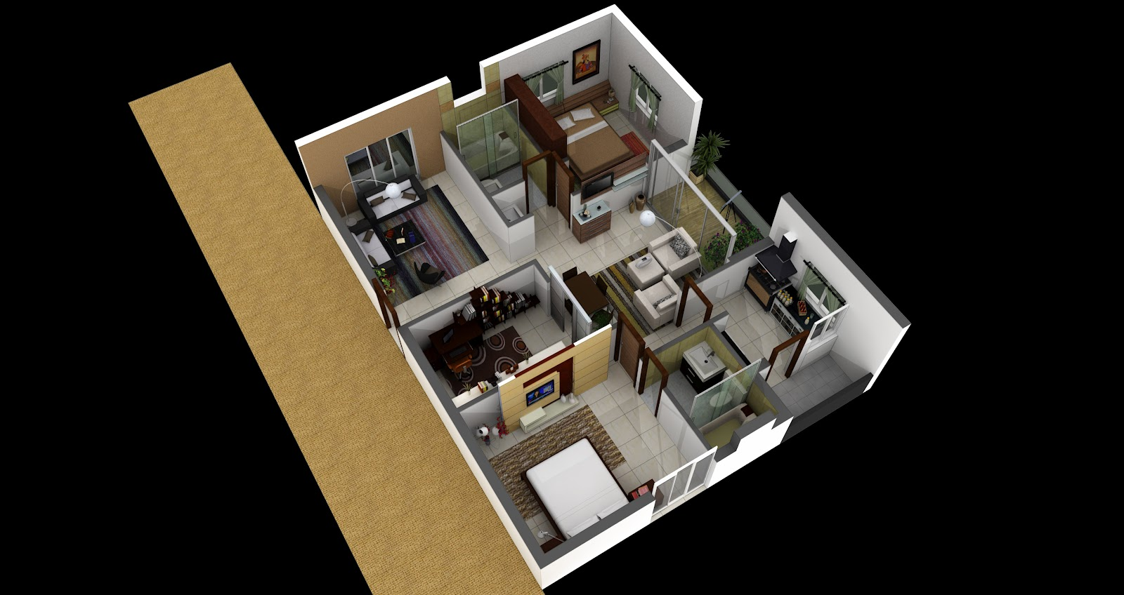 Isometric 3D Floor Plan