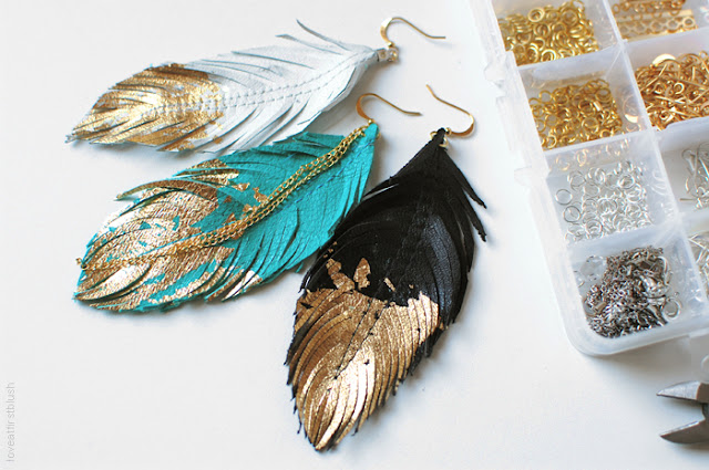Gilded Leather Feather Earrings with Golden Tips
