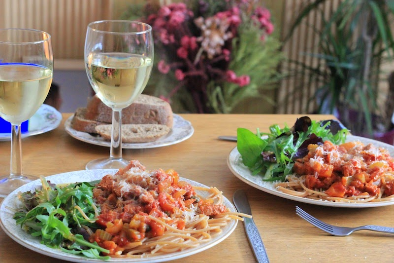 Spicy Vegetarian Sausage Casserole with spaghetti