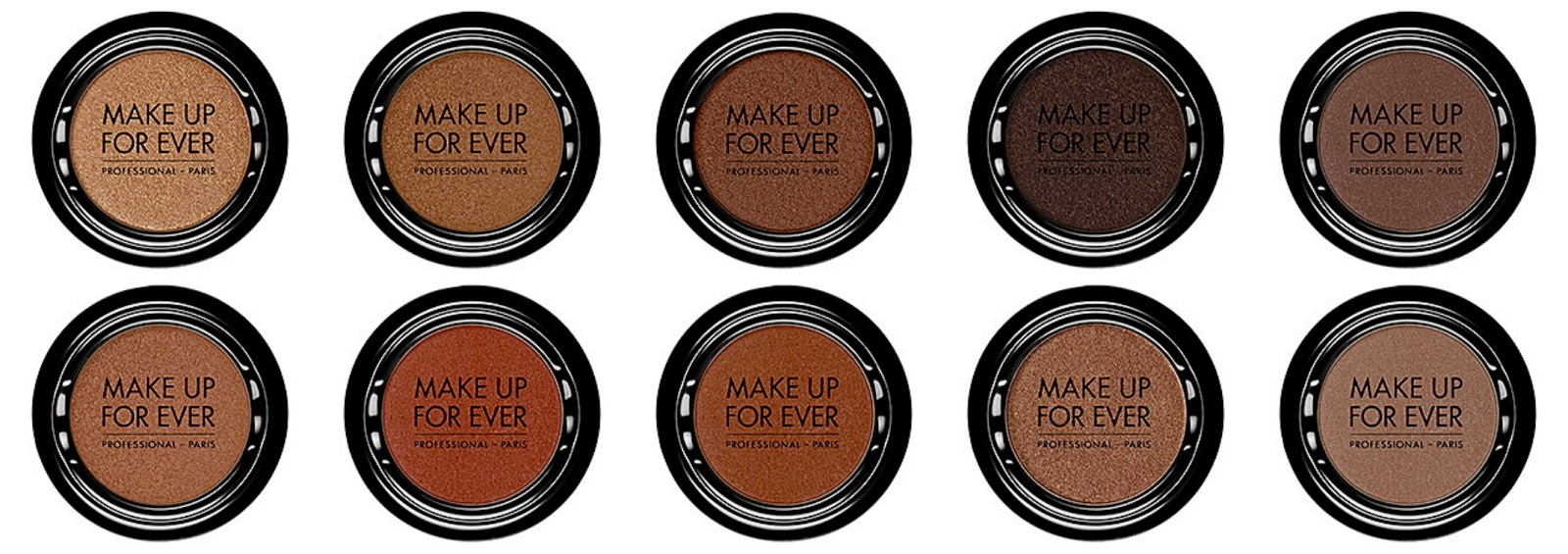 Make UP For Ever Artist Shadow Top from left:S-642 Sahara; S638 Mocha; S632 Hazelnut; S622 Black Brown; S616 Chocolate Bottom from left: S610 Almond; S604 Teak; S602 Cinnamon; S560 Taupe; S556 Taupe Gray