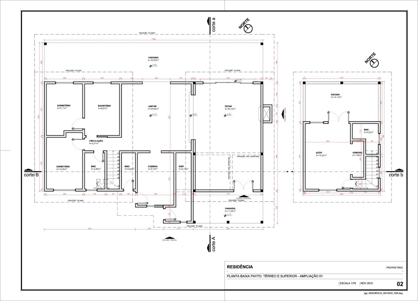 Projeto arquitetônico de ampliação de uma residência em Cad (2D #765555 1600 1152