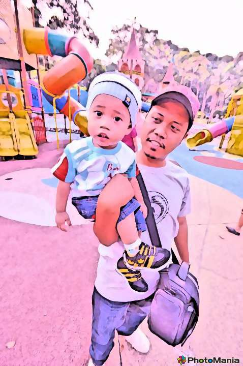 Izzul with his Papa @ Playground, Lake Garden