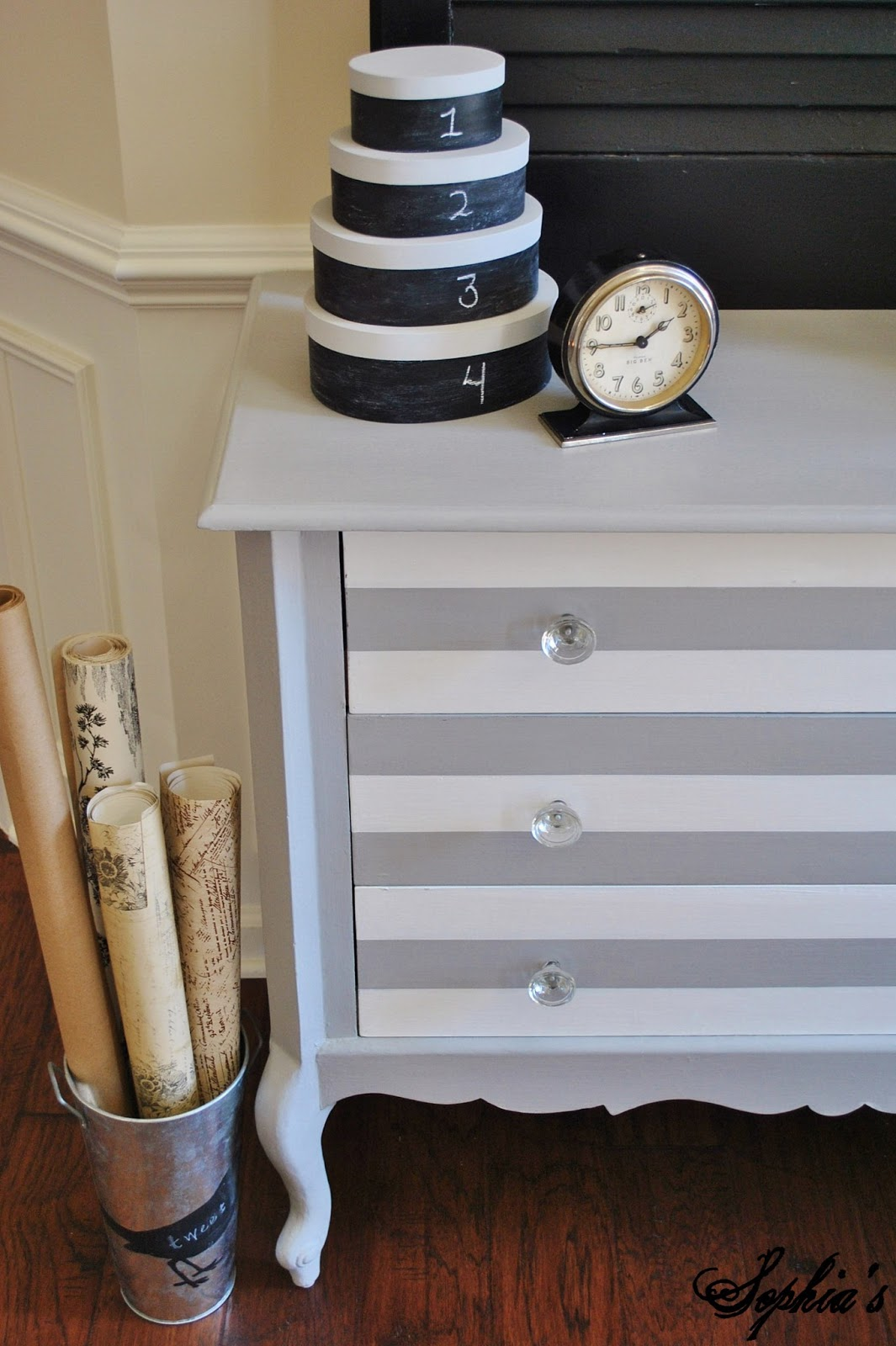 Grey and White Striped Dresser