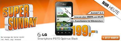 LG P970 Optimus Black am Saturn Super Sunday für 199 Euro