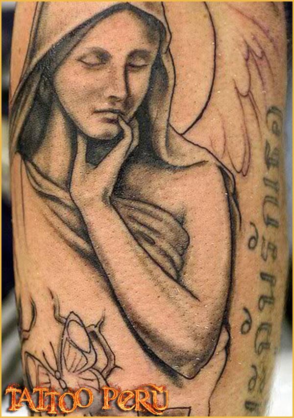 Tatuajes de angel y corazon tatuajes angel con rosas angel y