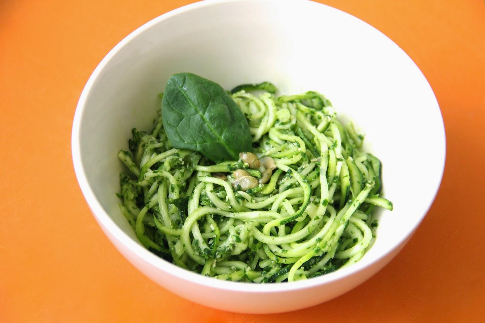 Spinach Pesto w/ Zucchini Spaghetti @ Elizabeth, Marie, and Me