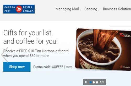 Canada Post Free Tim Hortons Gift Card