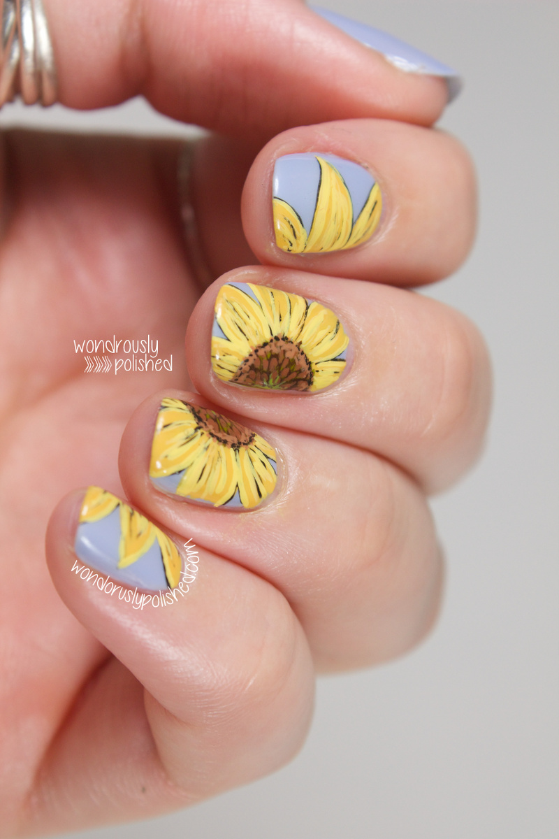 Galleries related sunflower acrylic nails tumblr nails daisy