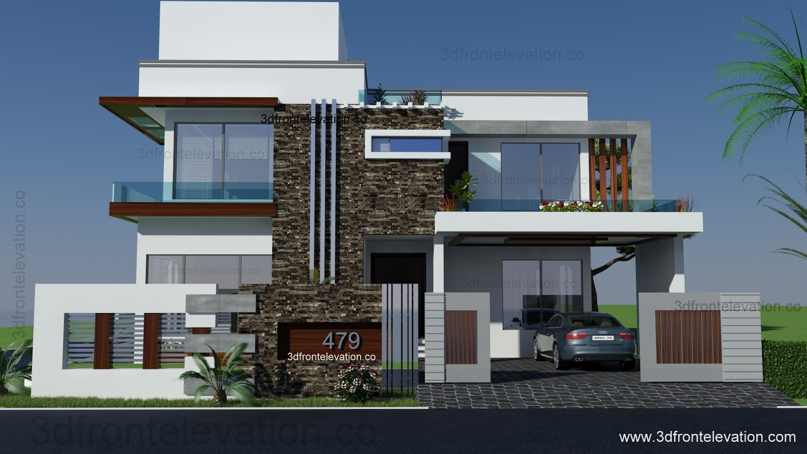 3d front lahore On front elevation design
