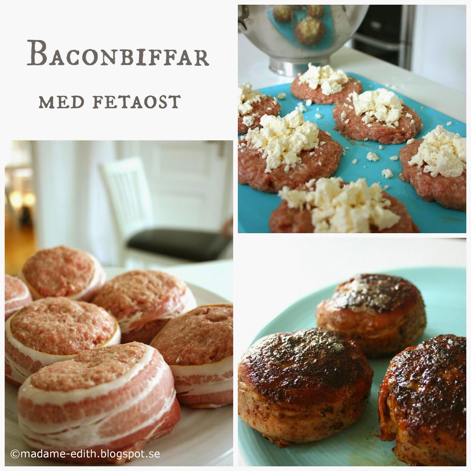Baconbiffar med fetaost