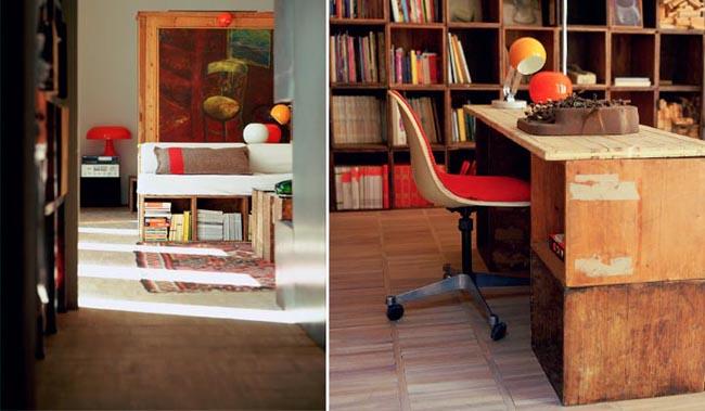 diseño interior  vivienda con cajas de madera - escritorio -oficina