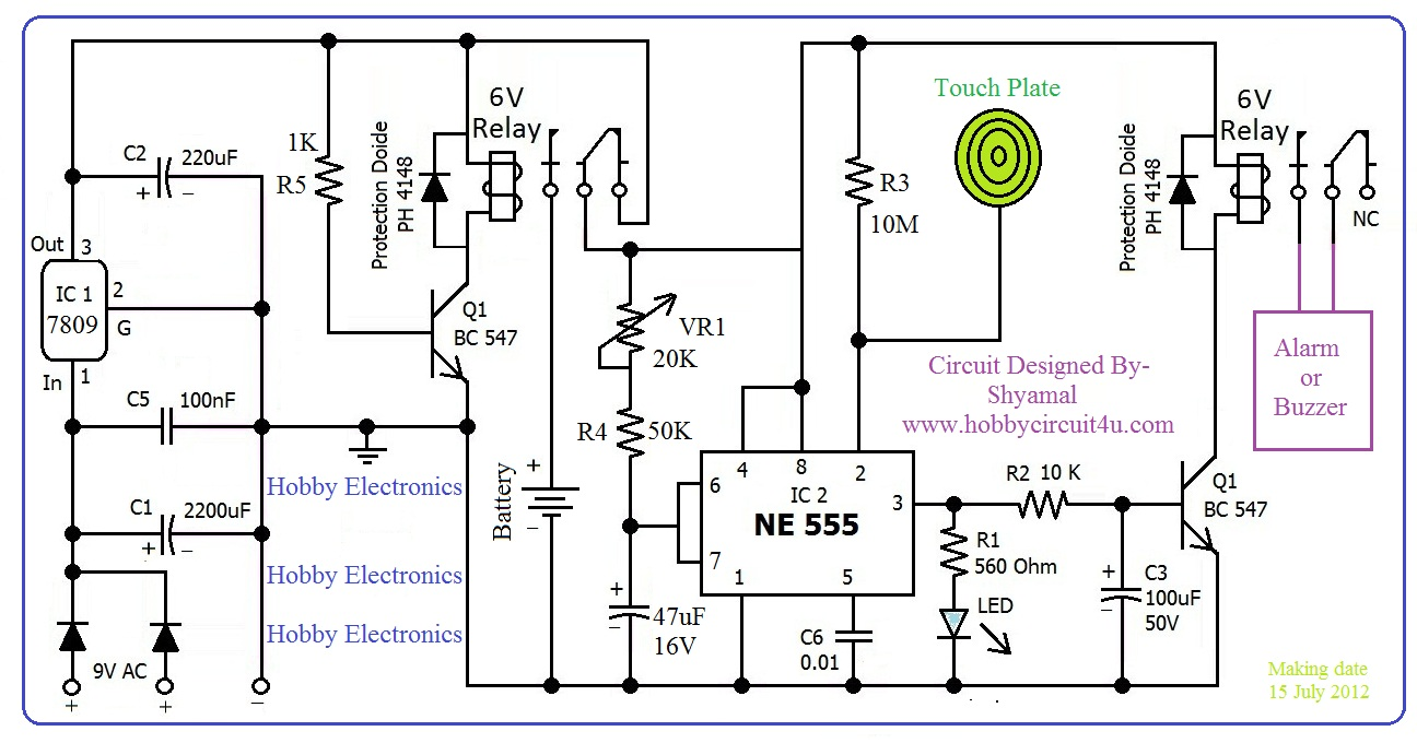 hobby in electronics 555 timer touch activated alarm circuit diagram so don t upset on load shedding you alarm system is activated this circuit could be used at your home door locker vehicle or metal gate etc