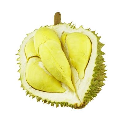 Buah durian yang telah dikopek dan isinya