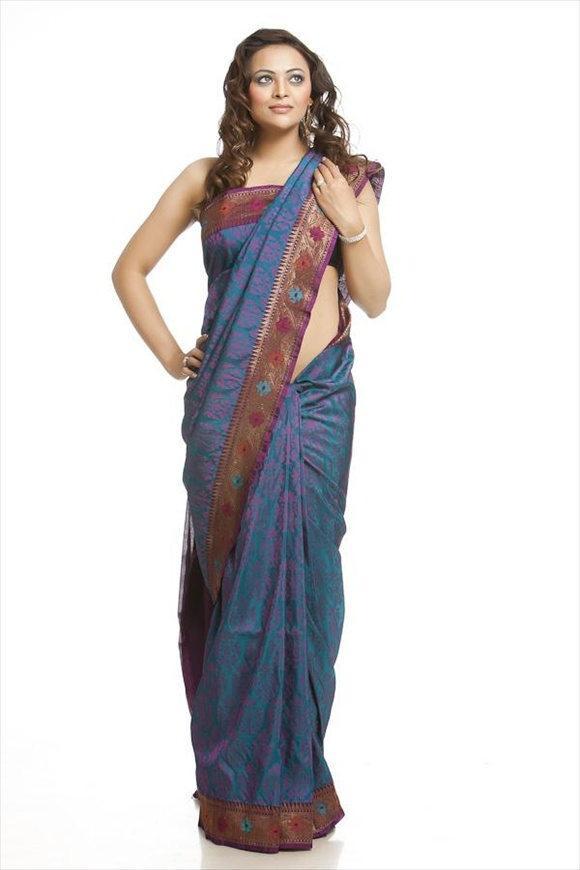 Dull Blue Georgette Banarasi Saree