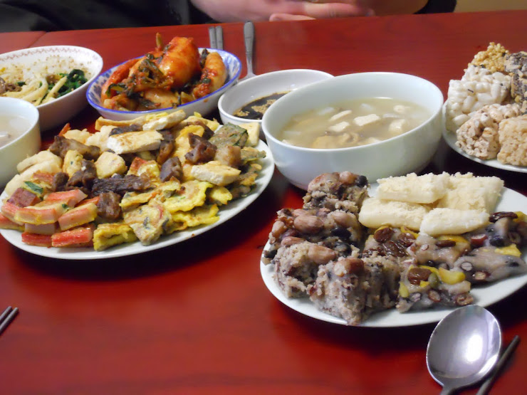 A sample of traditional Korean Lunar NY food.