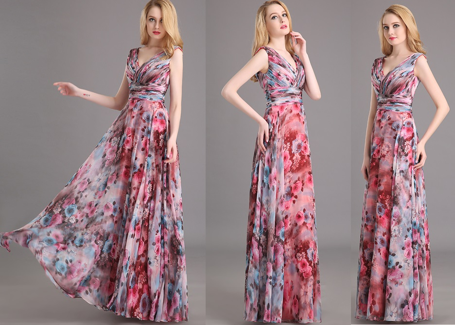 Country Style Red Floral Print Bridesmaids Maxi Dress