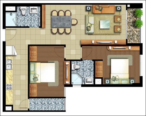 Sơ đồ căn hộ Lexington 2 phòng ngủ