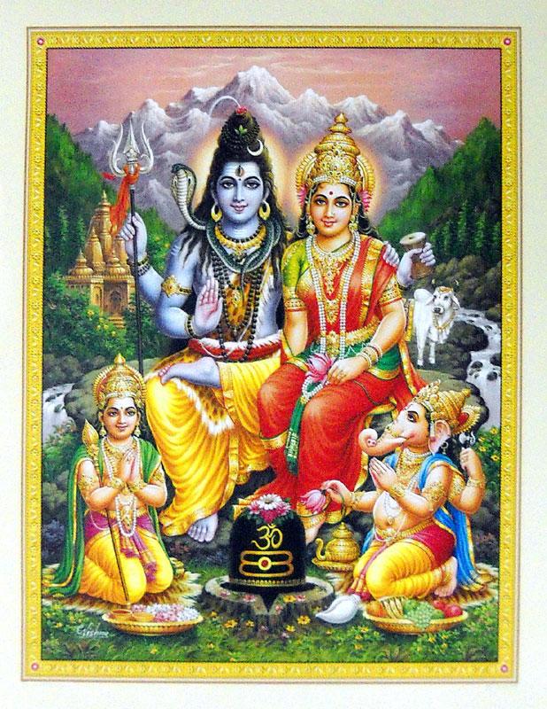 wallpaper of god shivas family