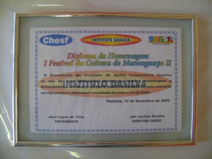 Certificado de Homenagem da Oásis do Nordeste 2005 Chesf PE.
