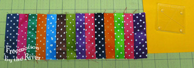 Border of 14 strips of fabric