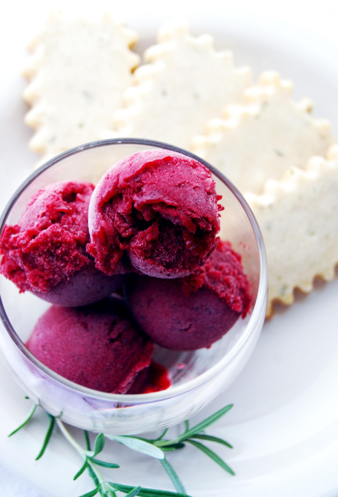 good morning grace.: roasted plum sorbet and rosemary shortbread