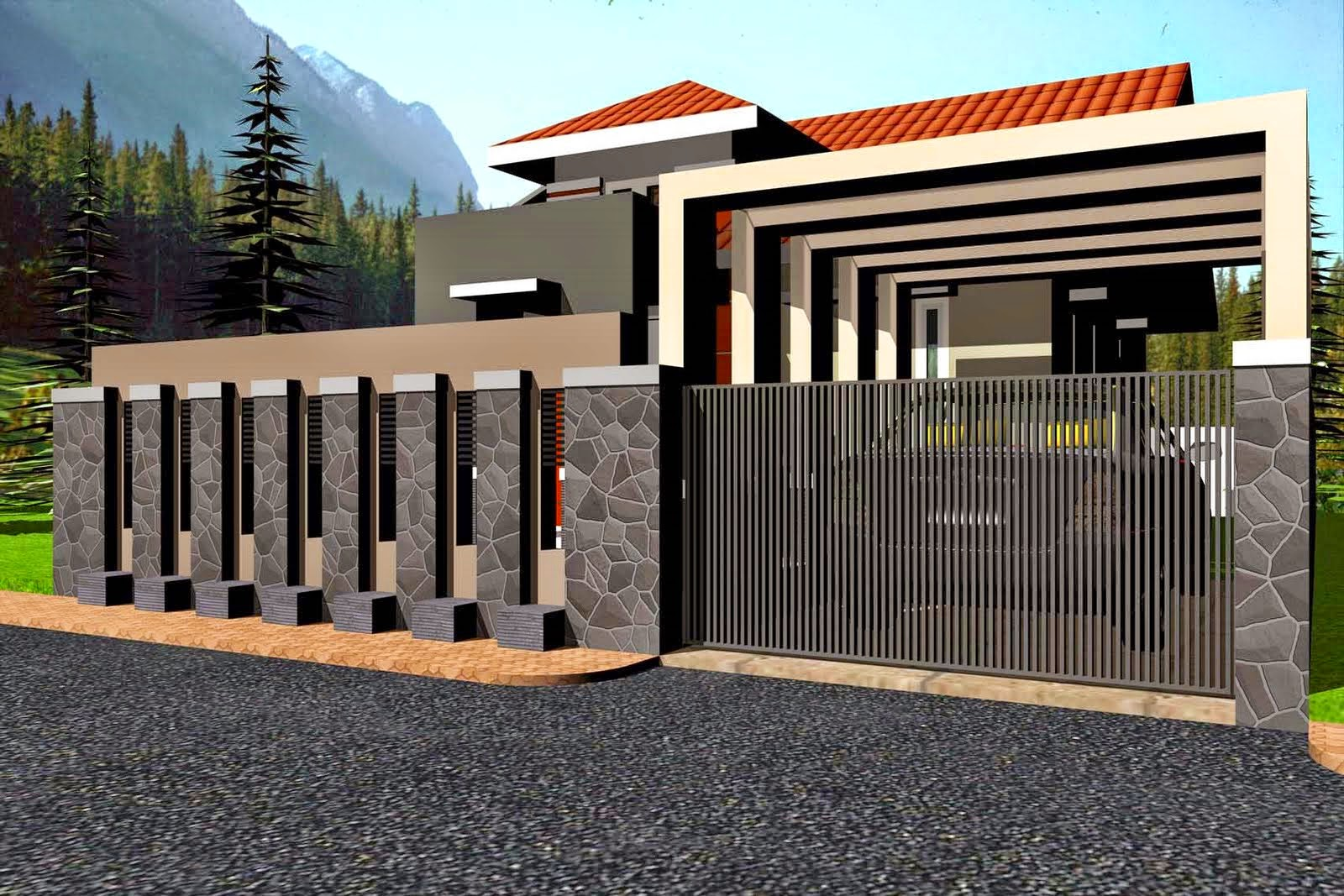 Model Pagar Tembok dan Besi Bergaya Minimalis