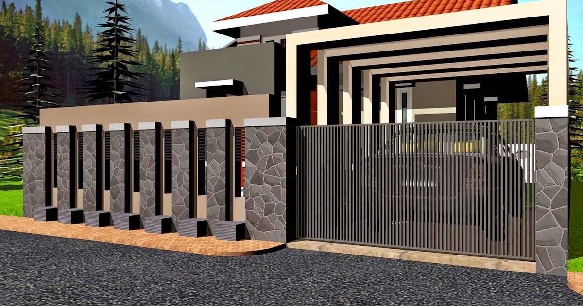 model pagar tembok minimalis menggunakan batu alam