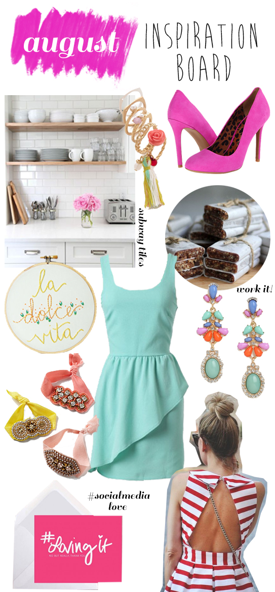 August Inspiration Board: Subway Tiles, Statement Earrings & Social Media.. oh my!