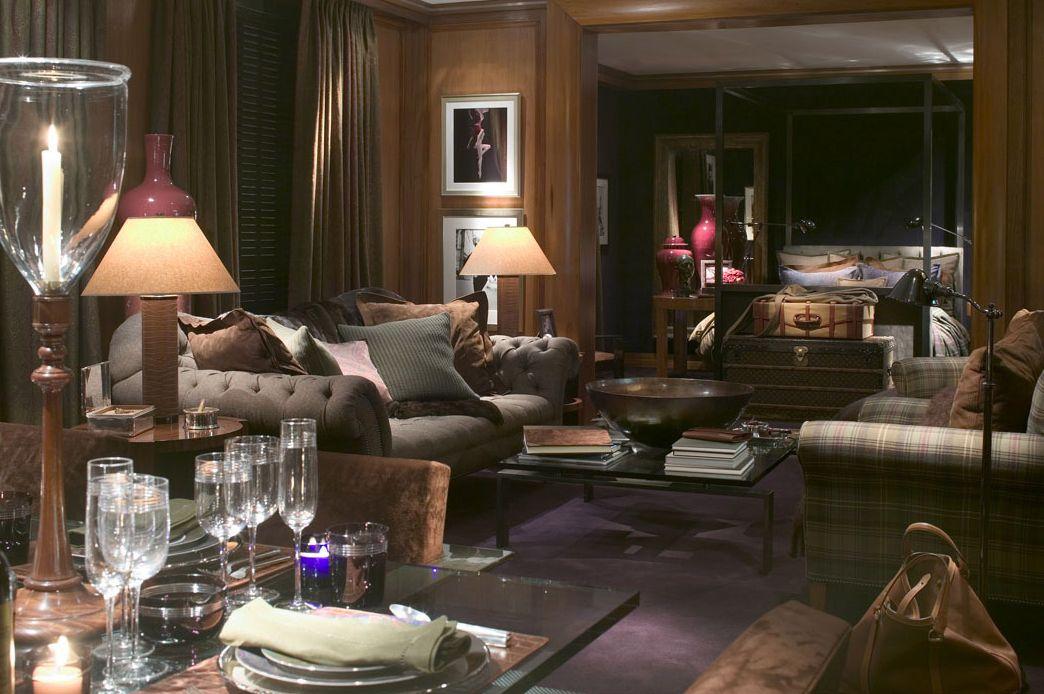 Blue plaid bedding - Below A Ralph Lauren Flannel Chesterfield Sofa And Plaid Chair