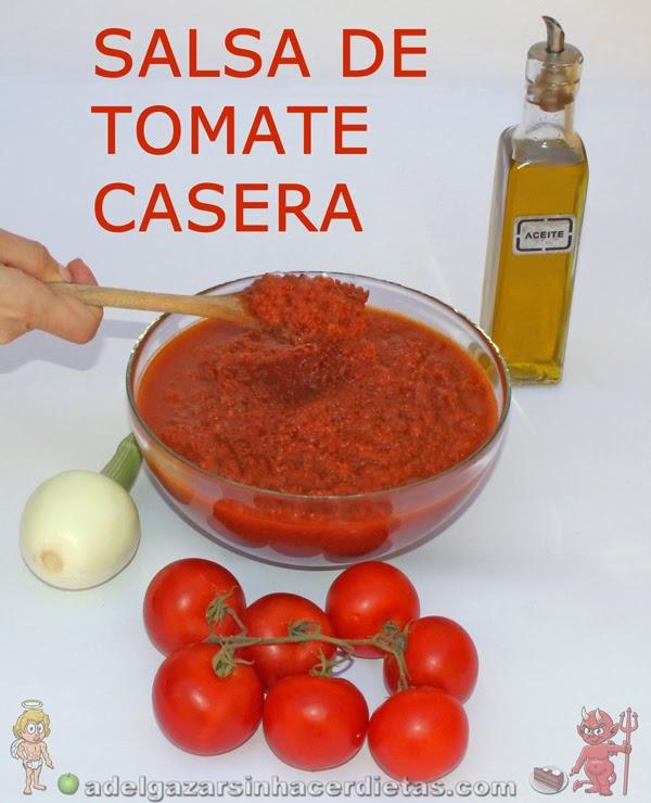 Receta saludable de Salsa de tomate casera muy ligera baja en calorías, apta para diabéticos y baja en colesterol.
