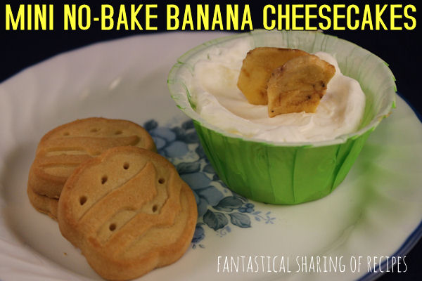 Mini No-Bake Banana Cheesecakes | A no-bake treat with a shortbread bottom #dessert
