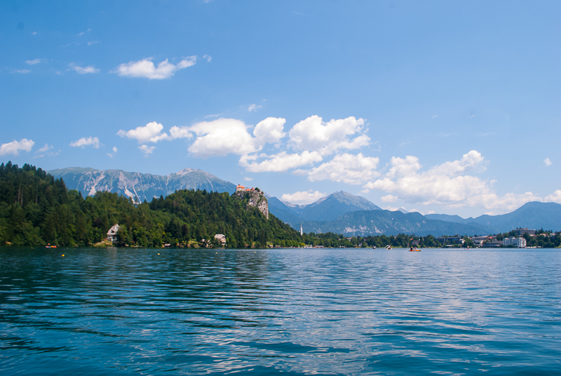 Image of bled from the middle of lake bled in slovenia
