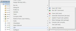 Context menu of the SBT project